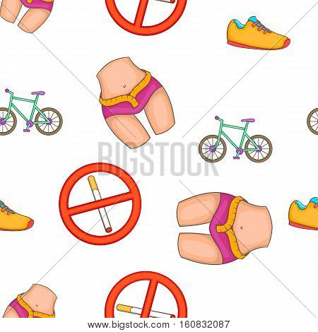 Fitness lifestyle pattern. Cartoon illustration of fitness lifestyle vector pattern for web