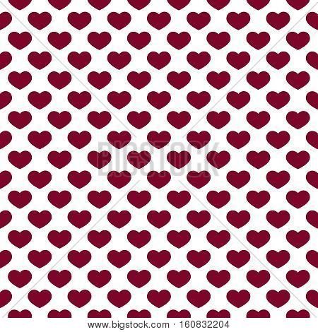 Hearts Pattern on White background. Simple romantic ornament for Valentine Day greeting card, banner, gift paper, wallpaper. Dark love symbols. Traditional repetitive design. Vector illustration.