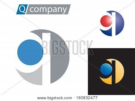Vector sign spherical letter Q, isolated logo