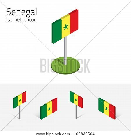 Senegalese flag (Republic of Senegal) vector set of isometric flat icons 3D style. African country flags. Editable design elements for banner website presentation infographic map. Eps 10