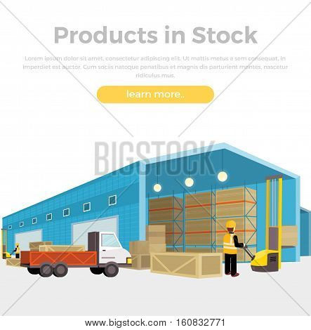 Products in stock. Equipment delivery process of the warehouse. Warehouse interior, logisti and factory, building warehouse exterior, business delivery, storage cargo. Loader unloads the van in flat