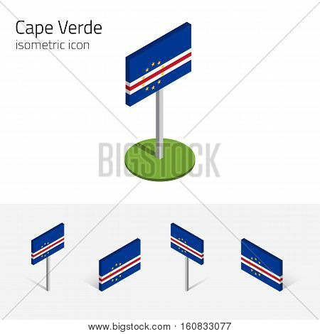 Cape Verde flag (Republic of Cabo Verde) vector set of isometric flat icons 3D style different views. 100% editable design elements for banner website presentation infographic map card. Eps 10