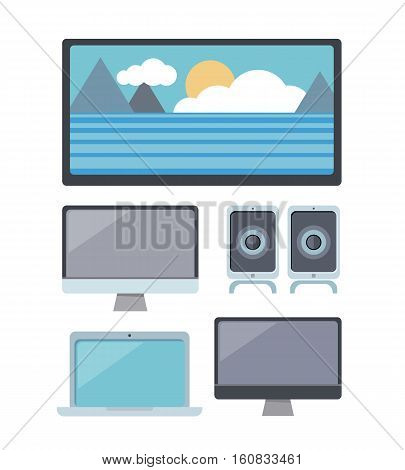 Set of computer monitor, laptop, audio speaker, LCD TV monitor. Multimedia entertainment. Computer devices. Multimedia set for home. Isolated object on white background. Flat vector illustration