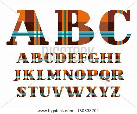 English alphabet, plaid, vector font, capital letters, brown. The letters of the English alphabet with serifs. Blue stripes on orange-brown background in a cage.