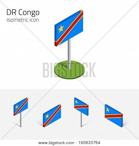 Democratic Republic of the Congo flag vector set of isometric flat icons 3D style. African country flags. Editable design elements for banner website presentation infographic poster map. Eps 10