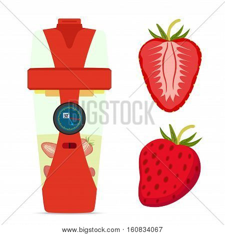 Smart hydrate bottle with strawberry nutrition smoothie drink. Flat style.