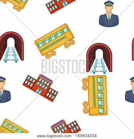 Railroad elements pattern. Cartoon illustration of railroad elements vector pattern for web