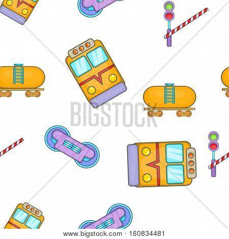 Railway transport pattern. Cartoon illustration of railway transport vector pattern for web