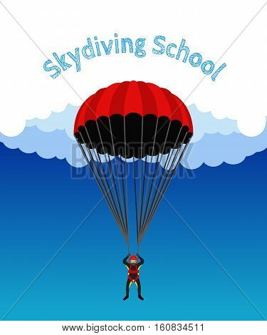 Skydiving school academy illustration. Parachutist extreme sport skydiver. Illustration for skydivers club paragliding company Flat style