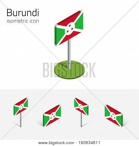 Burundian flag (Republic of Burundi) vector set of isometric flat icons 3D style. African country flags. Editable design elements for banner website presentation infographic poster map. Eps 10