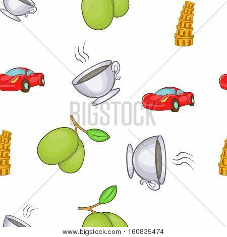 Italy symbols pattern. Cartoon illustration of Italy symbols vector pattern for web