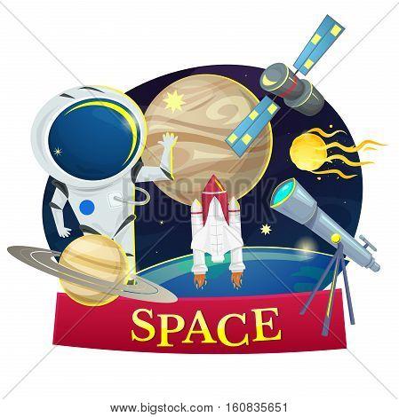 Space concept design, astronomy set vector illustration