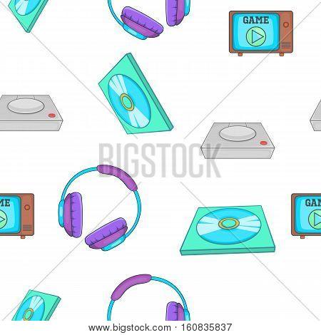 Computer games equipment pattern. Cartoon illustration of computer games equipment vector pattern for web