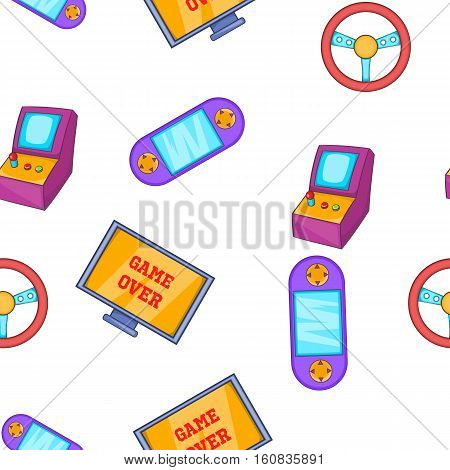 Video game pattern. Cartoon illustration of video game vector pattern for web