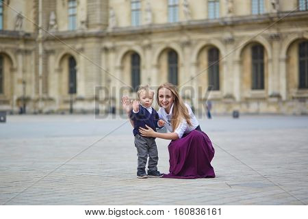 Mother And Little Son In Paris