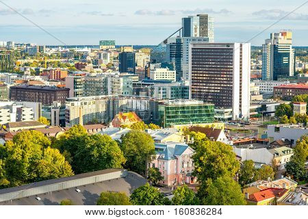 Aerial view on the new financial district in Tallin, Estonia