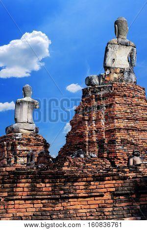 Ancient buddha statue historic site in Ayuttaya provinceThailand.