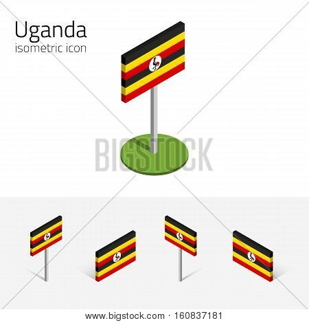 Ugandan flag (Republic of Uganda) vector set of isometric flat icons 3D style. African country flags. Editable design elements for banner website presentation infographic poster map. Eps 10