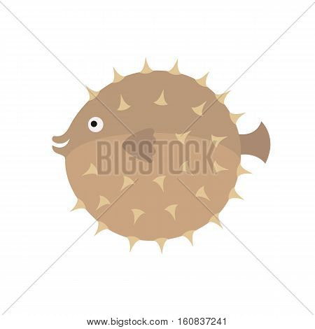 Hedgehog fish isolated on white background. Vector illustration.