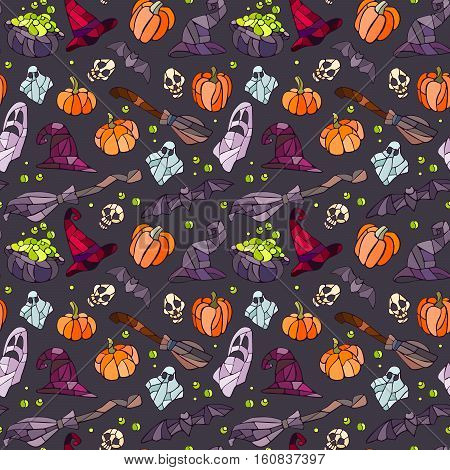 Vector decorative pumpkins, bats, ghosts, broom, caldrons and witch hats stained glass style for your design on dark background.