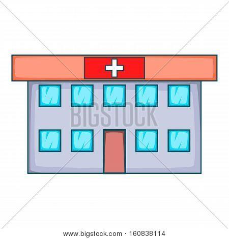 Hospital icon. Cartoon illustration of hospital vector icon for web