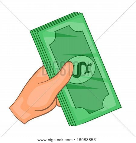Cash in hand icon. Cartoon illustration of cash in hand vector icon for web