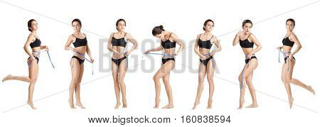 set of athletic  woman measuring her waist by blue measure tape after a diet on a white background