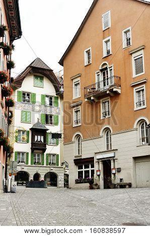 Typical swiss houses in Bremgarten canton Aargau Switzerland