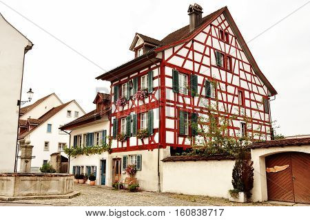 Typical swiss timber frame house in Bremgarten Aargau Switzerland