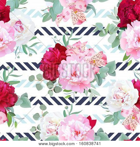 Striped navy and light blue floral seamless vector print with peony alstroemeria lily mint eucaliptus. Pink white and burgundy flowers.