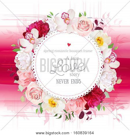 Elegant floral vector round card with white and burgundy red peony rose orchid carnation flowers mixed plants. Pink gradient background in watercolor style. All elements are isolated and editable.