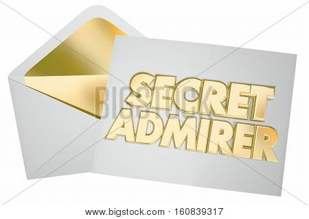 Secret Admirer Romantic Crush Letter Enevelope 3d Illustration