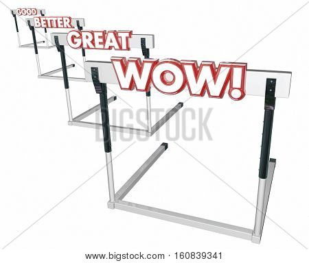 Good Better Great Wow Hurdles Performance 3d Illustration