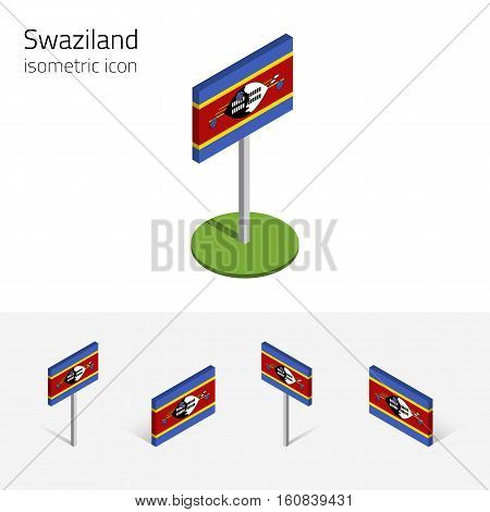 Swaziland flag (Kingdom of Swaziland) vector set of isometric flat icons 3D style. African country flags. Editable design elements for banner website presentation infographic card map. Eps 10
