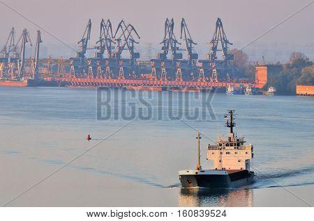 Cargo ship on Danube river ner the port