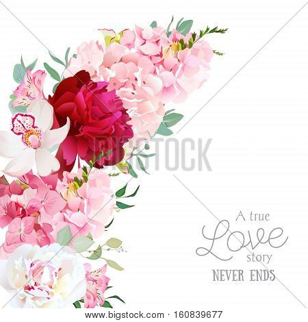 Luxury floral crescent shape vector frame with peony alstroemeria lily orchid hydrangea eucalyptus on white. Pink white and burgundy red flowers. All elements are isolated and editable.