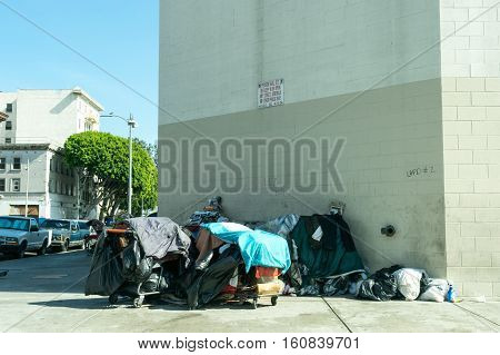 Los Angeles USA - September 28 2015: Homeless men in skid row of Los Angeles.