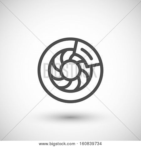 Disk brake line icon isolated on grey. Vector illustration