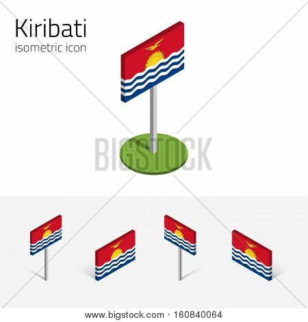Kiribatian flag (Republic of Kiribati) vector set of isometric flat icons 3D style different views. 100% editable design elements for banner website presentation infographic poster map. Eps 10