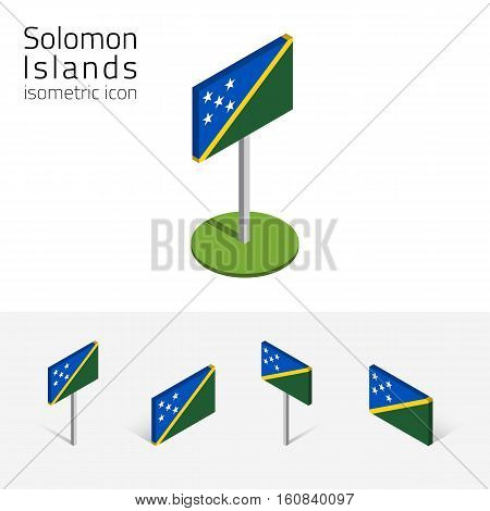 Flag of Solomon Islands vector set of isometric flat icons 3D style different views. 100% editable design elements for banner website presentation infographic poster map collage card. Eps 10
