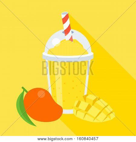 Mango smoothie vector illustration, with slice mango, flat design with long shadow