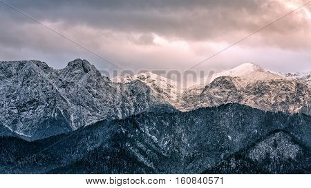 Mountain massif Giewont in the Western Tatra Mountains with a height of 1894 meters Poland