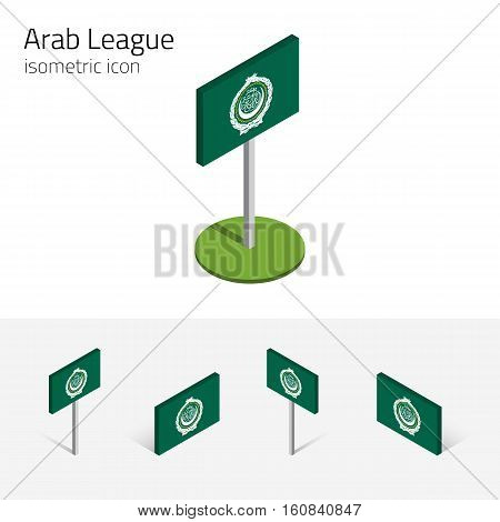 Arab League flag (League of Arab States) vector set of isometric flat icons 3D style different views. Editable design elements for banner website presentation infographic poster map. Eps 10