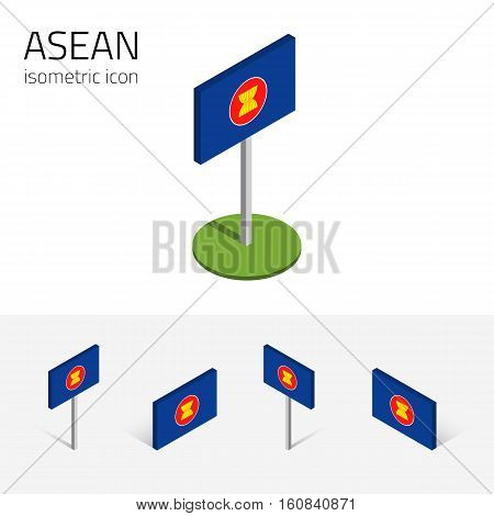 ASEAN flag (Association of Southeast Asian Nations) vector set of isometric flat icons 3D style different views. Editable design elements for banner website presentation infographic map. Eps 10