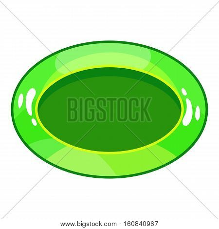 Oval green button icon. Cartoon illustration of oval green button vector icon for web