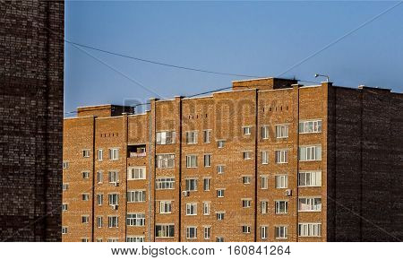 Apartment buildings, view of the newly built residential area, houses, municipal housing, cheap accomodation, high-rise buildings