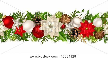 Vector Christmas horizontal seamless garland with fir-tree branches, red and silver balls, poinsettia flowers, holly, cones and mistletoe.
