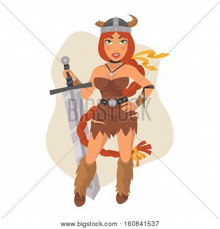 Vector Illustration, Viking Girl Holds Sword, Format EPS 8