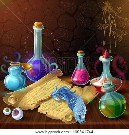 Magic bottles with recipe composition with potion jars plugs and human eyes on wooden table vector illustration