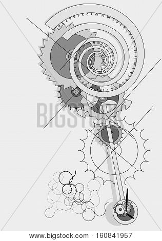 Pendulum concept with abstract clock in moviment